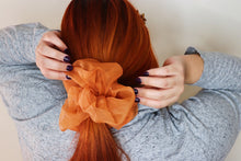 Load image into Gallery viewer, Oversized Organza Scrunchie in Hello Pumpkin