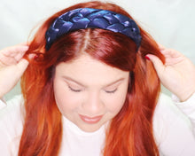 Load image into Gallery viewer, Double Braided Metallic Headband in Dark Blue