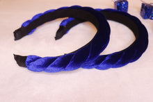 Load image into Gallery viewer, Twisted Velvet Headband in Cobalt Blue