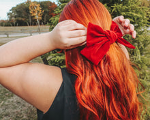 Load image into Gallery viewer, Oversized Faux Suede Bow Barrette in the color Red Velvet