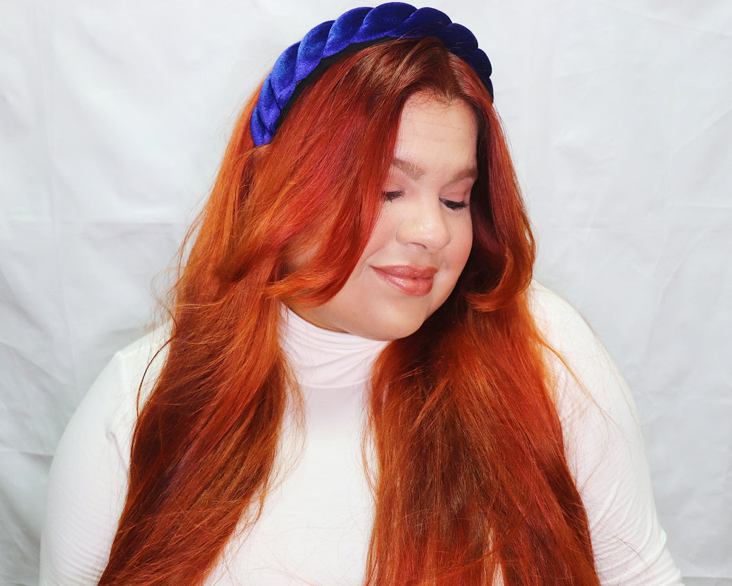 Twisted Velvet Headband in Cobalt Blue