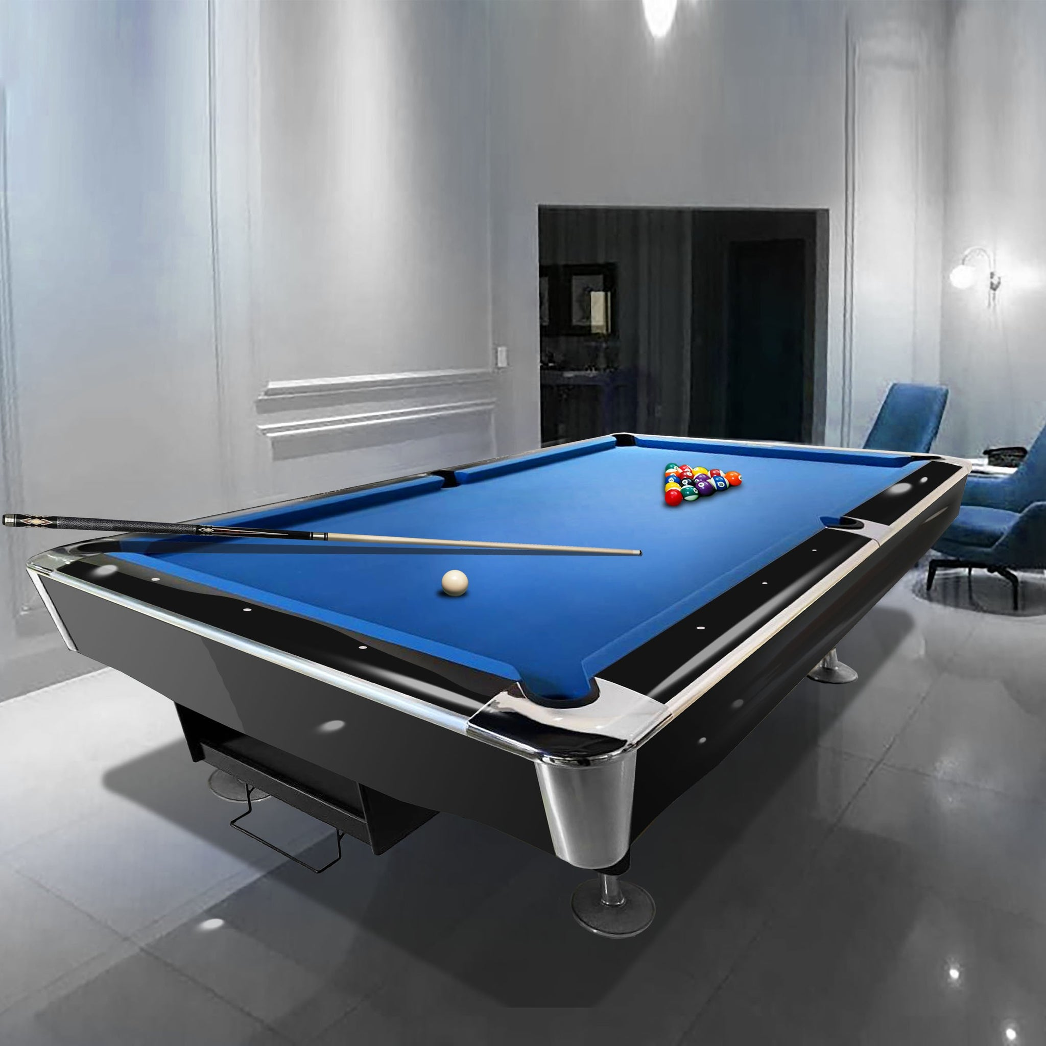 Tournament Professional 8ft American Pool Table Black Gloss Finish