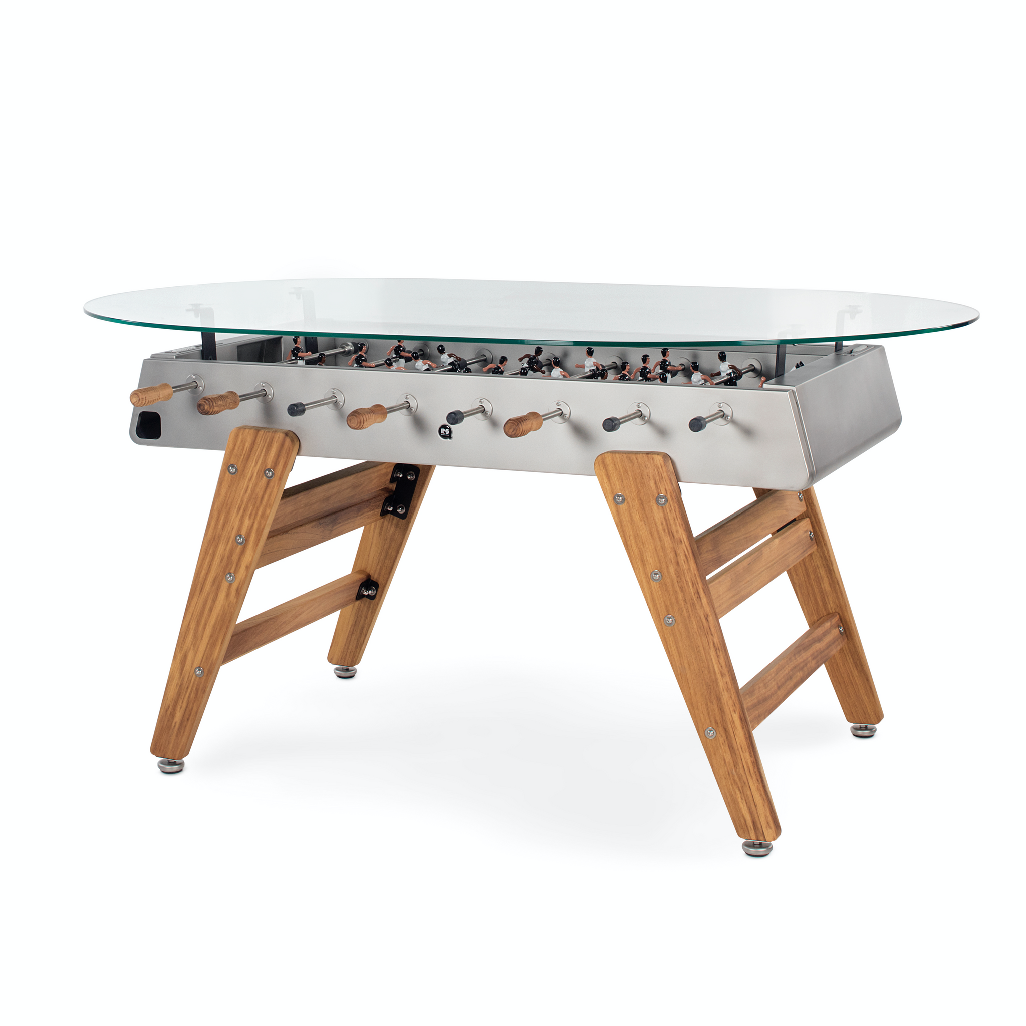 RS3 Wood Dining Oval Foosball Table in Stainless Steel