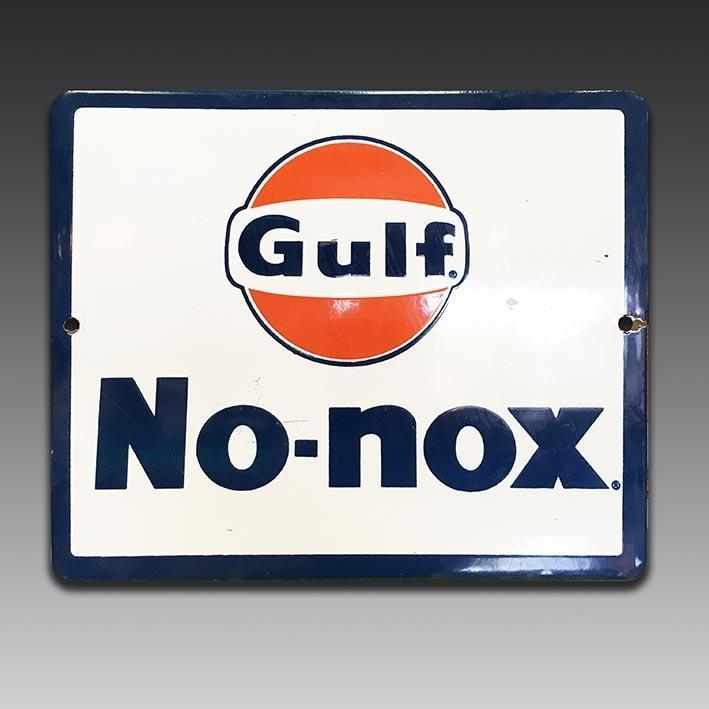 Gulf No-Nox vintage enamel sign