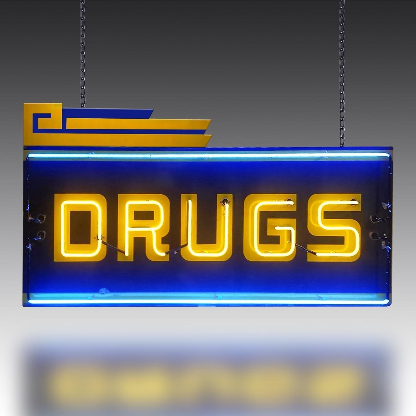 Vintage 1970s Neon Drugs Sign
