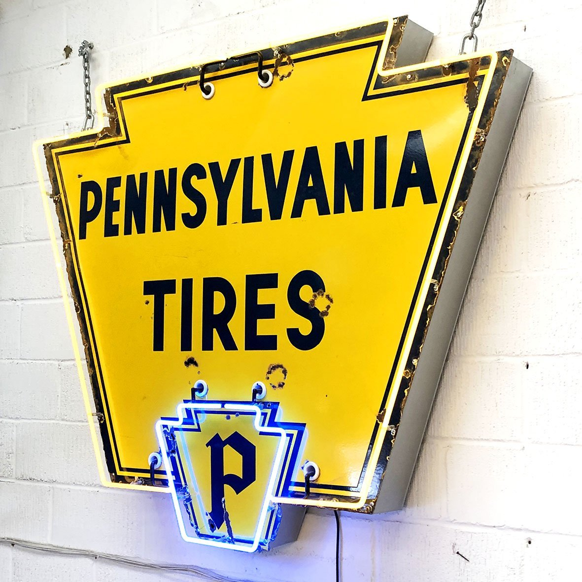 Vintage 1950s Neon Pennsylvania Tyres Sign