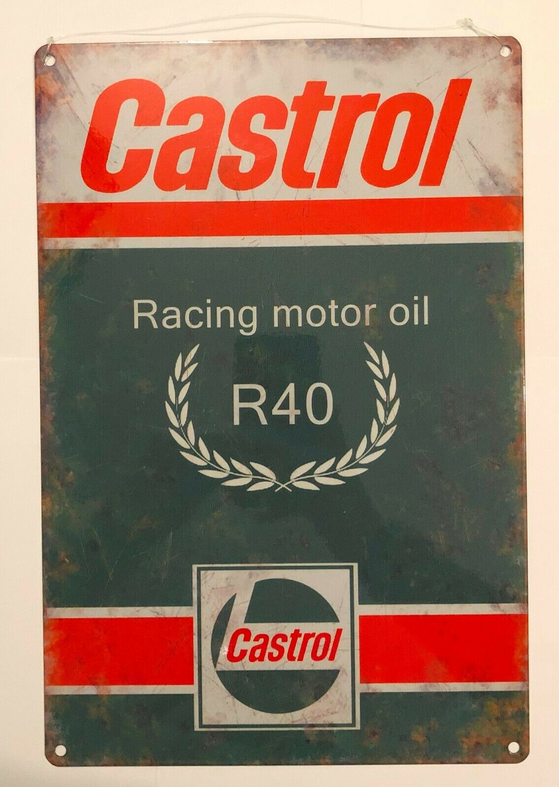 Castrol Racing Motor Oil R 40 Retro Metal Wall Sign