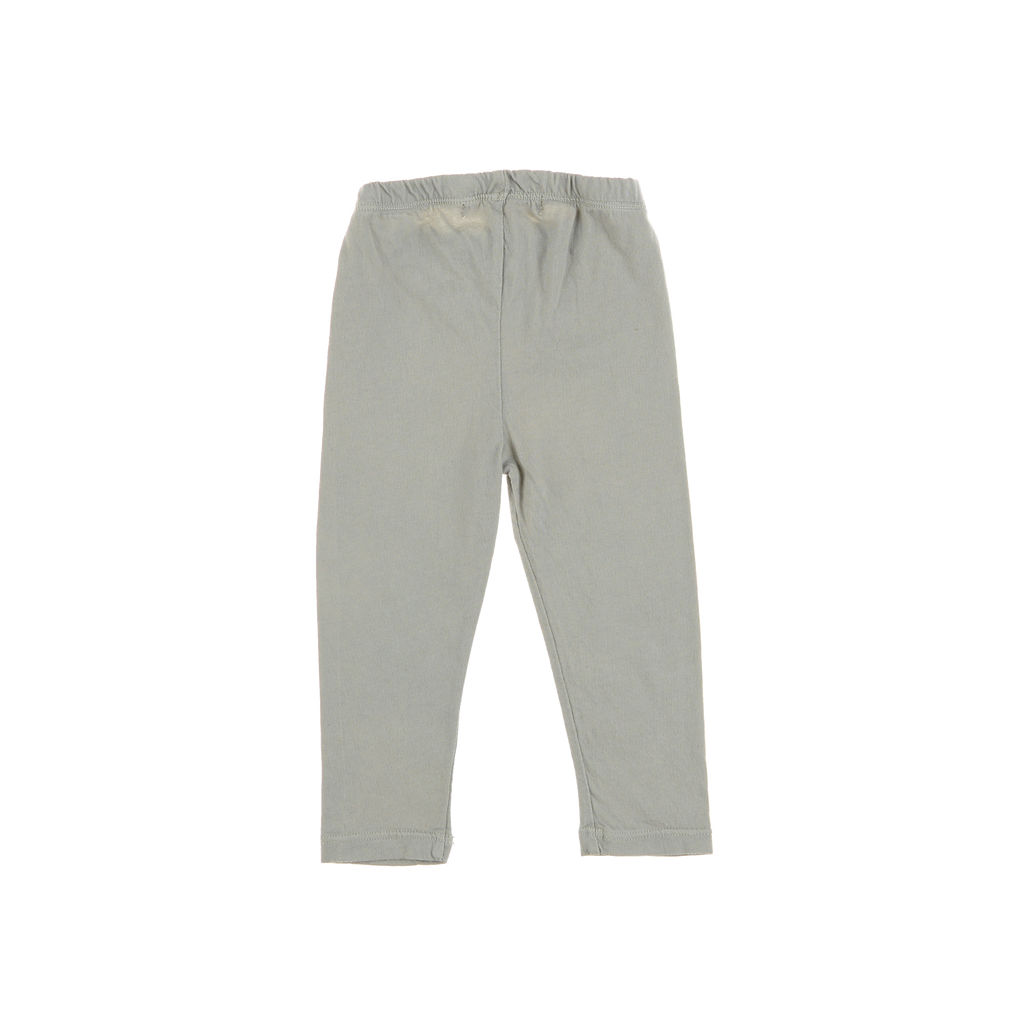DALIA baby leggings back view, tailored from an organic cotton in stone grey. Made by Omibia