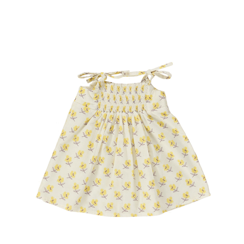 ANITTA Baby Dress, back view tailored from an organic cotton in a sun colour. Made by Omibia