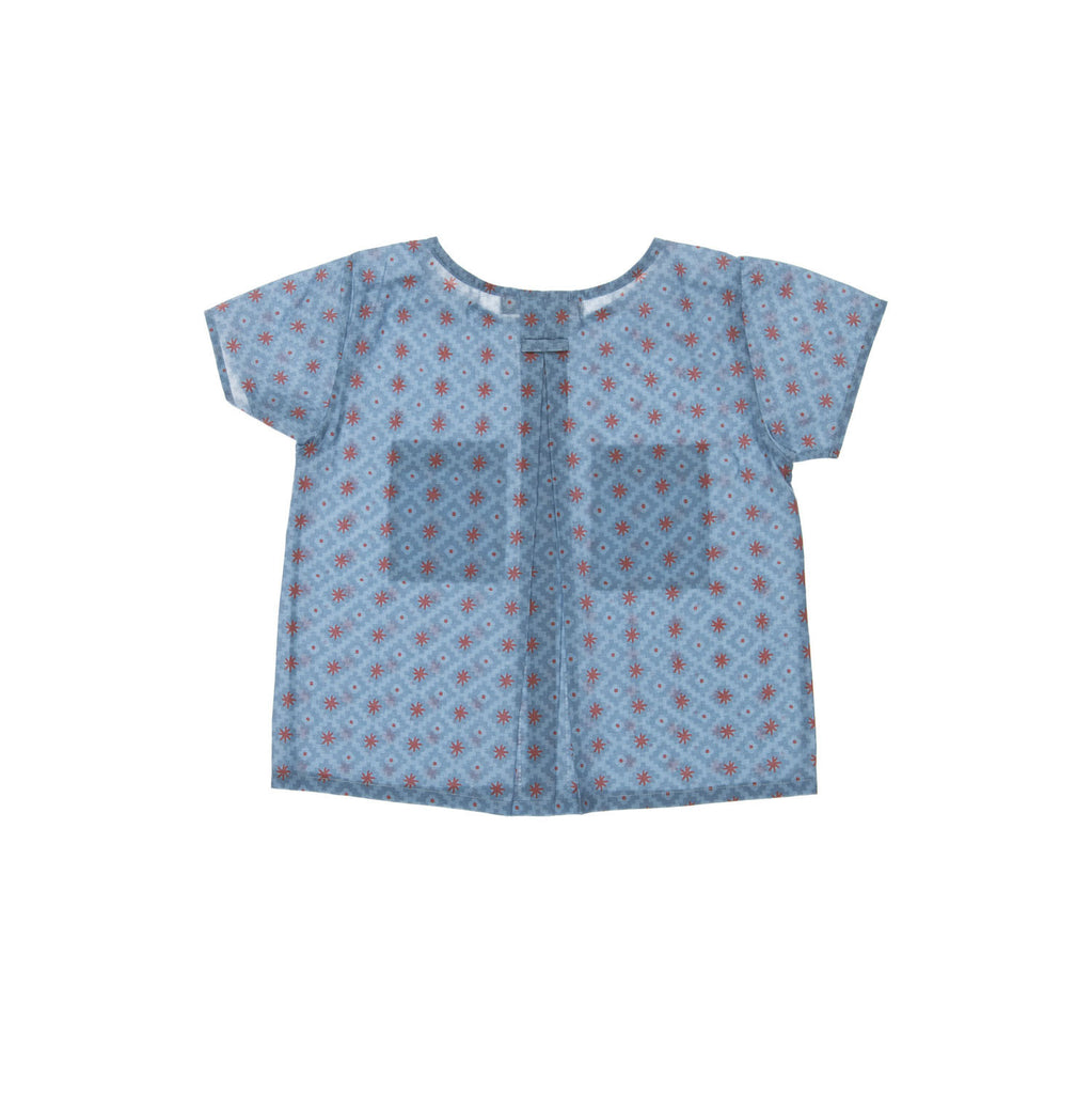 AVILA  Child Top, backview tailored from an organic cotton with a sun coloured pattern. Made by Omibia