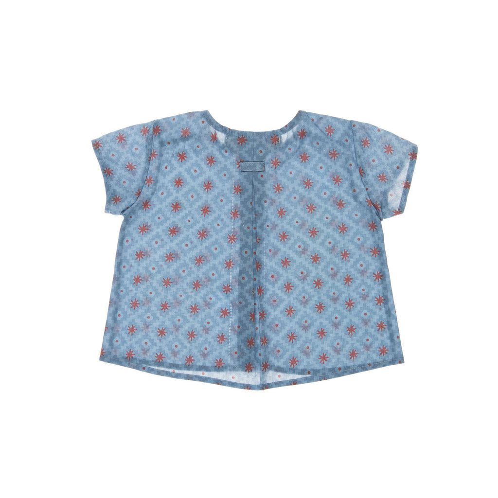 AVILITA Baby Shirt, backview tailored from an organic cotton with a sun coloured pattern. Made by Omibia