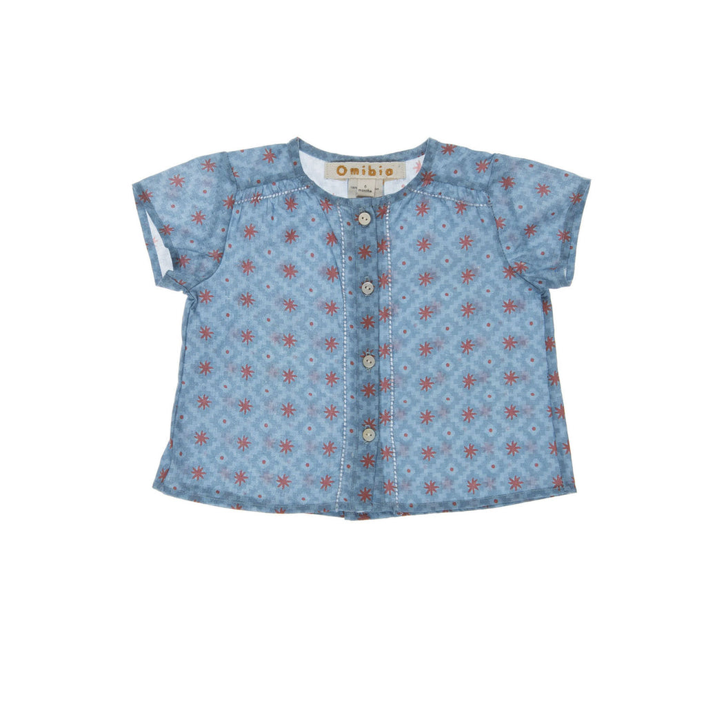 AVILITA Baby Shirt, frontview tailored from an organic cotton with a sun coloured pattern. Made by Omibia