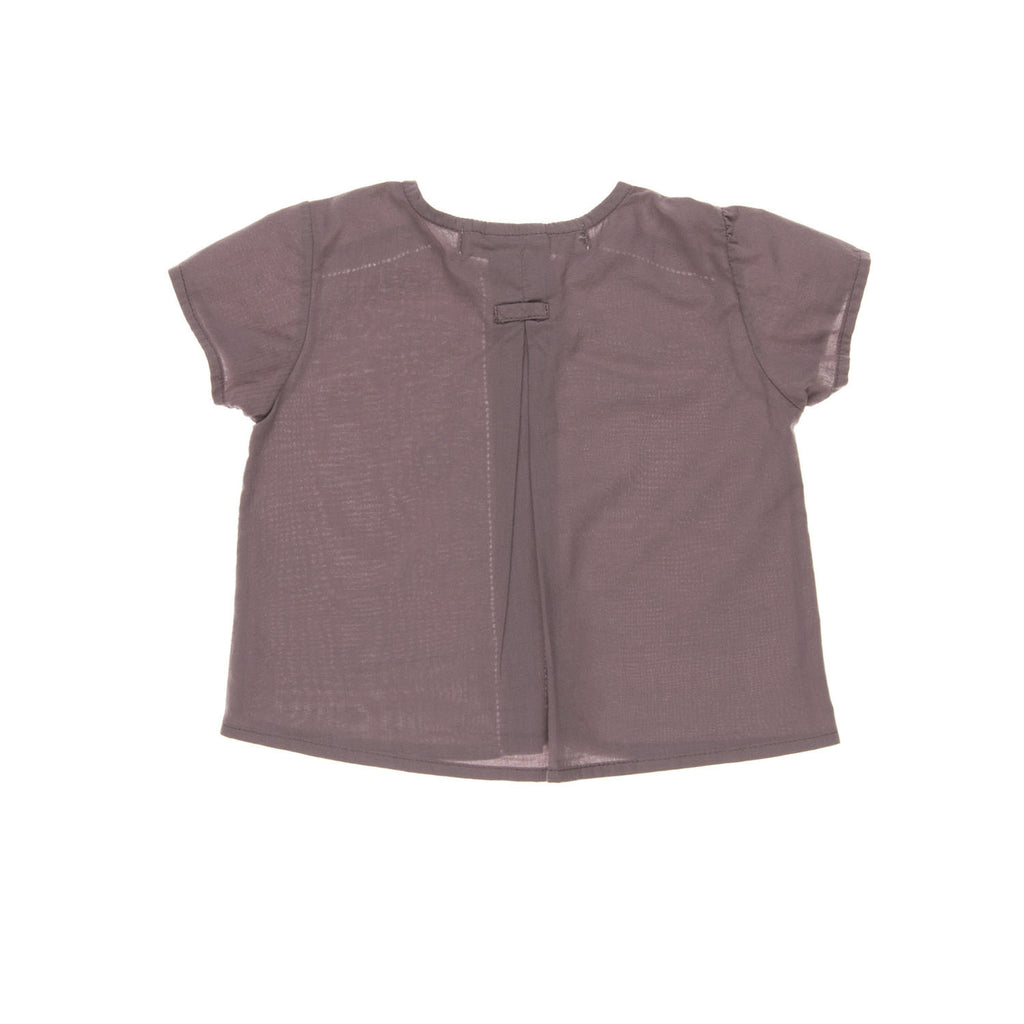 AVILA Baby Shirt, BACXKview tailored from an organic cotton with a plum colour. Made by Omibia