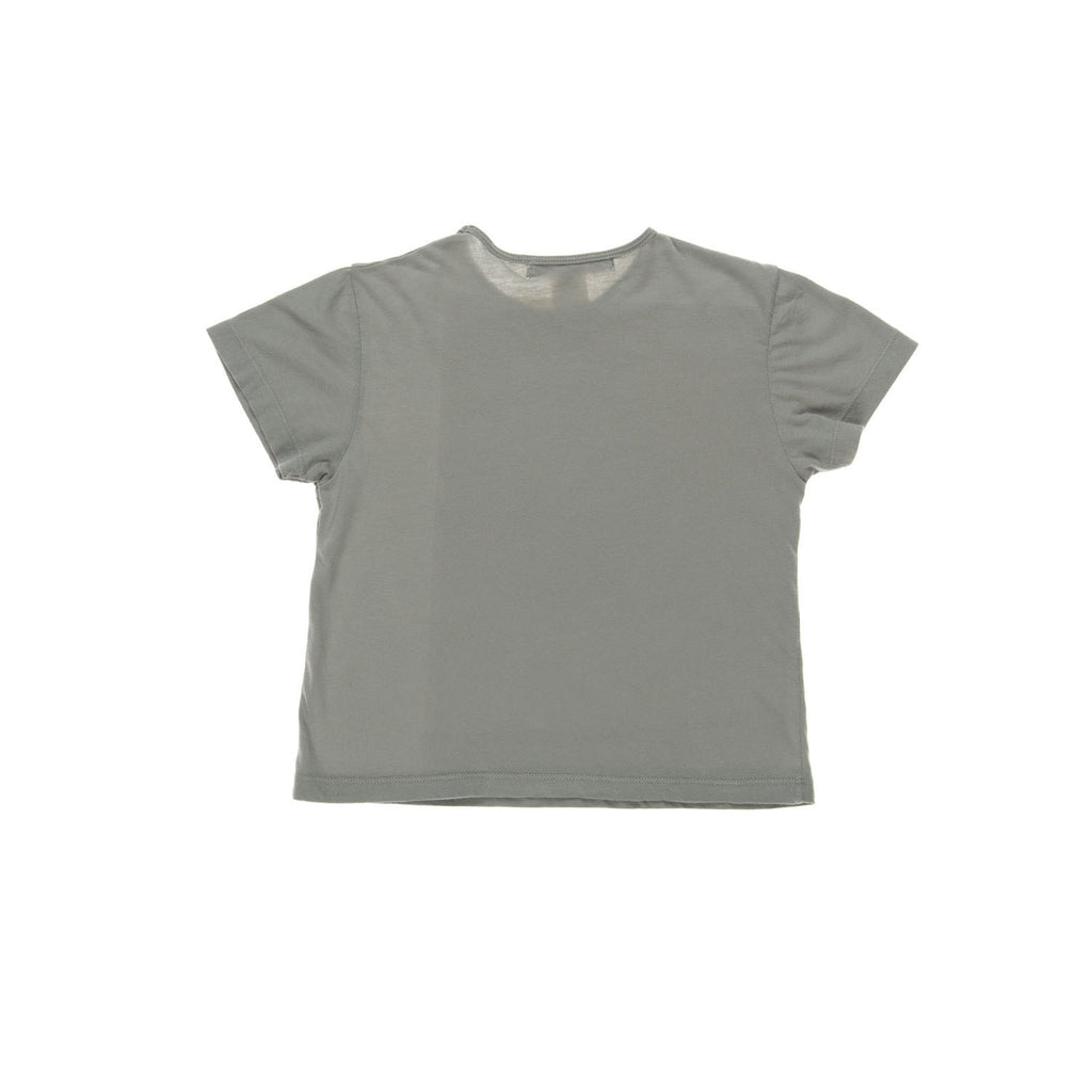 HOLLY Top Jersey, back view, tailored from an organic cotton with a green colour. Made by Omibia