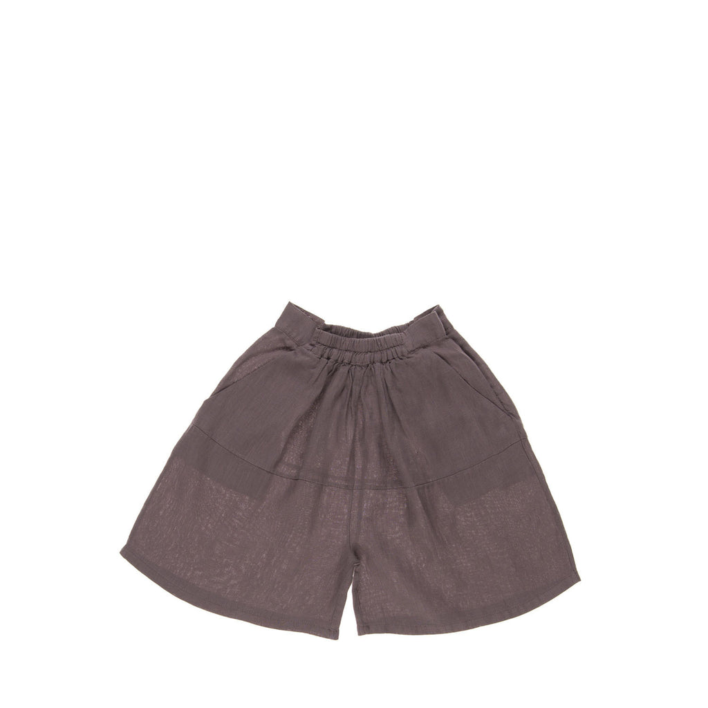 PALMER Culottes, front view tailored from an organic linen in a plum colour. Made by Omibia