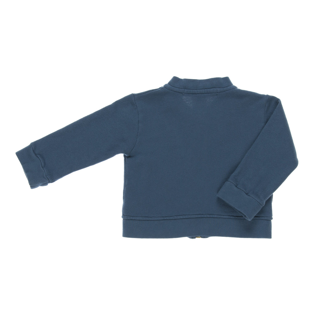 VIDAL Jacket for Baby, back view tailored from an organic cotton in a blue colour. Made by Omibia