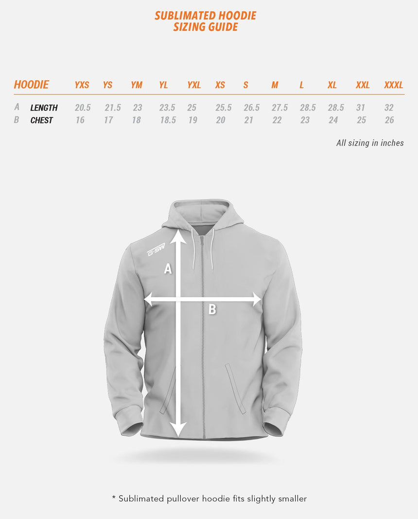 Sublimated Hoodie Sizing Guide