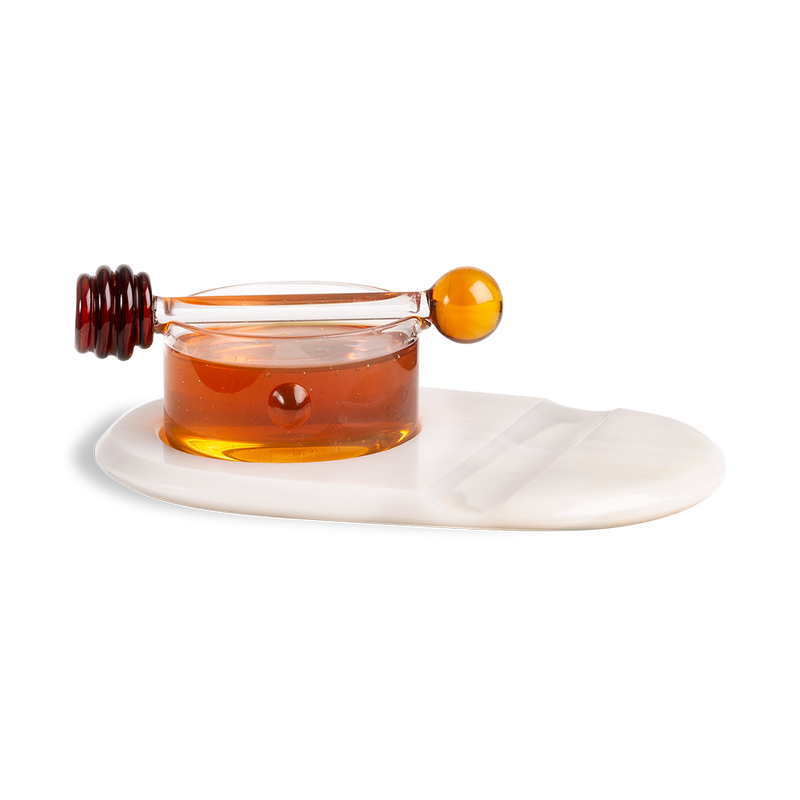HONEY POT - MIELERO DE VIDRIO CON TABLA DE MÁRMOL
