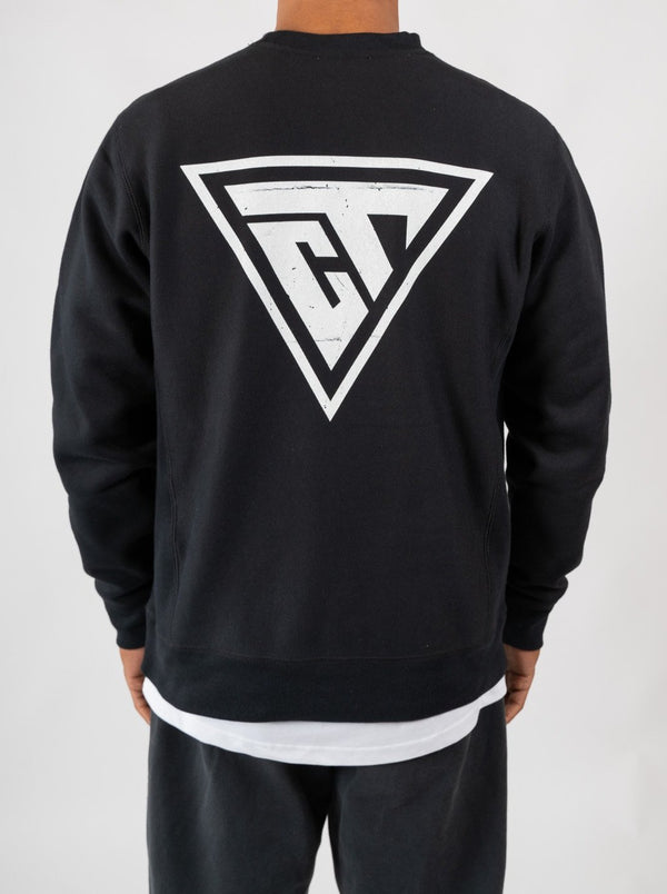Distressed Logo Crew - Black