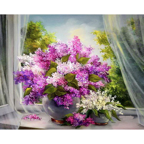 Diamond Painting Flowers on the windowsill