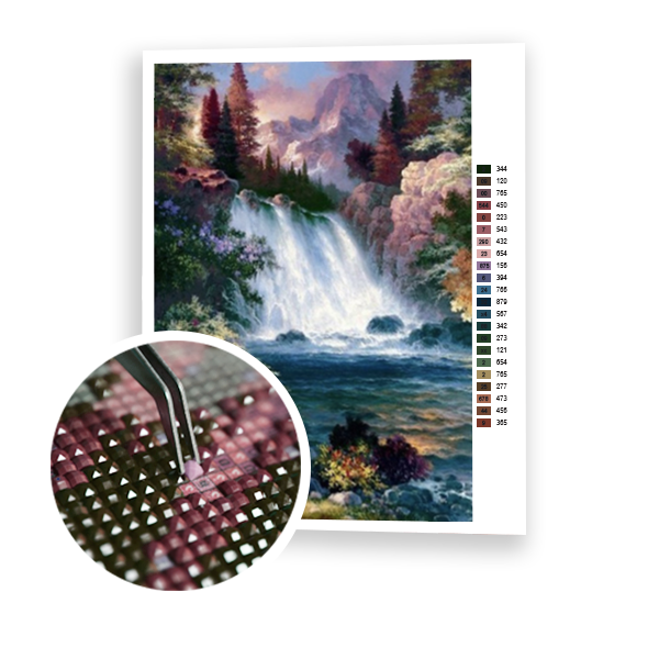 Diamond Painting Mountain waterfall