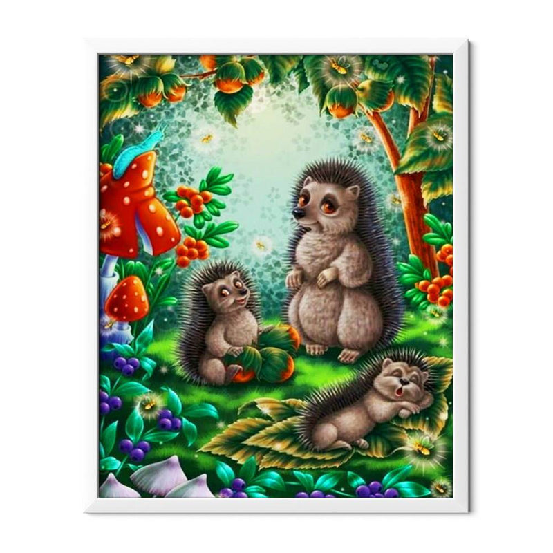 Hedgehogs Cartoon Family Diamond Painting - 1
