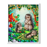 Hedgehogs Cartoon Family Diamond Painting - 2