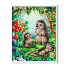 Diamond Painting Hedgehogs Cartoon Family