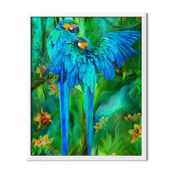 Blue African Parrots Diamond Painting - 1