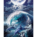 Diamond Painting Dolphins in the moonlight
