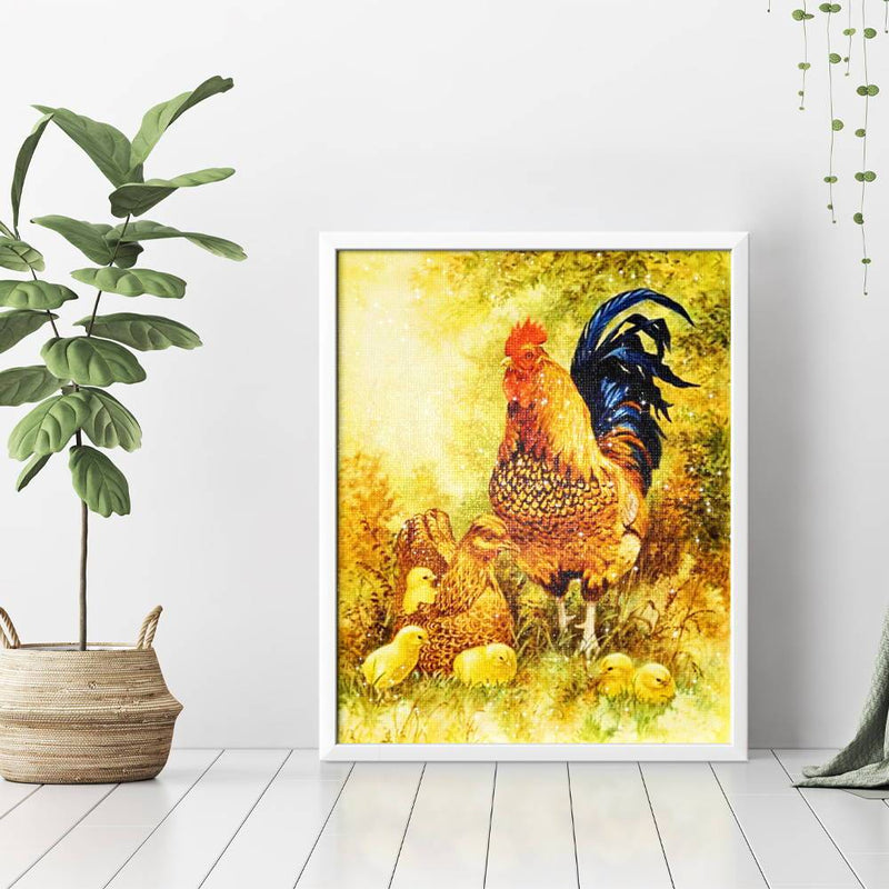Rooster And Chickens Diamond Painting - 3