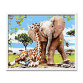 Elephant and Giraffe Diamond Painting - 1