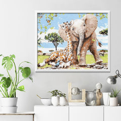 Diamond Painting Elephant and Giraffe
