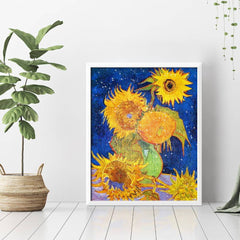 Diamond Painting Sunflowers On Blue