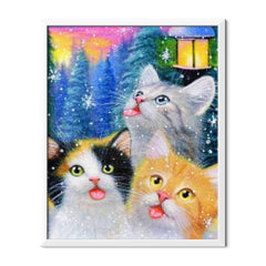 Diamond Painting Cats In Winter