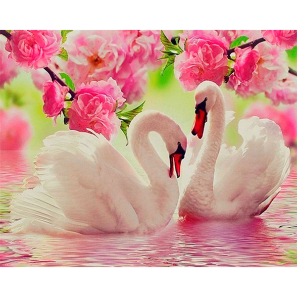 Diamond Painting Swans in roses