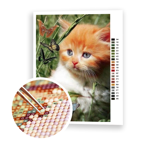 Diamond Painting Kitten hunting