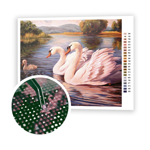 Diamond Painting Swan family
