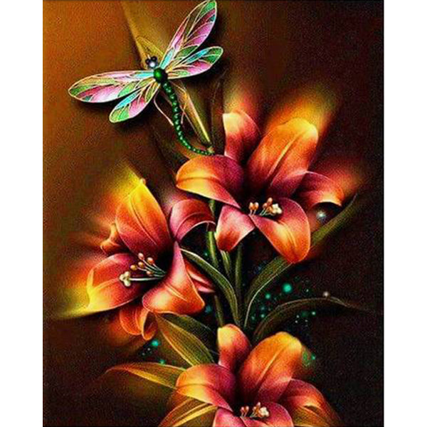 Dragonfly And Lilies