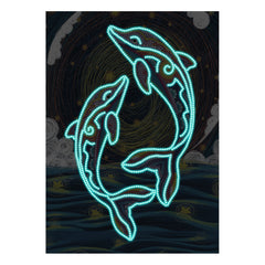 Diamond Painting Glowing dolphins