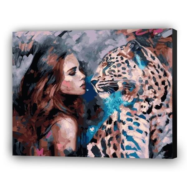 Girl and leopard