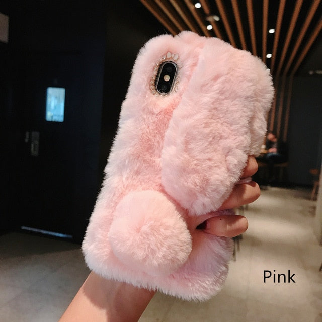 Cute Rabbit Ears Fluffy Phone Case Cover For iPhone 11 Pro X XS Max XR 8 7 6 5 6s 5s Plus Bunny Plush Fur Soft Silicone TPU Case