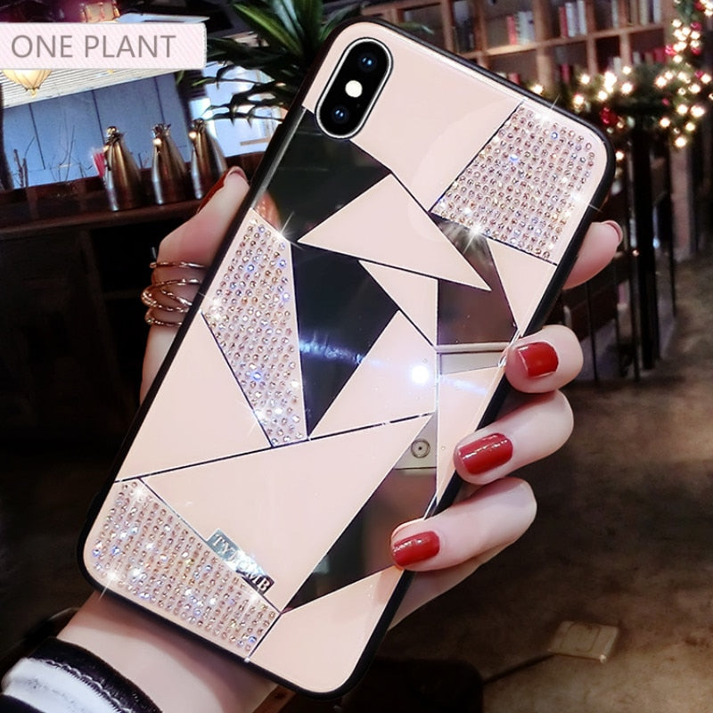 Luxury Creative Mirror Rhombus Phone Case For iPhone X XR XS MAX Cover For iPhone 7 8 6 Plus 11 Por Max Fashion Water Drill Case
