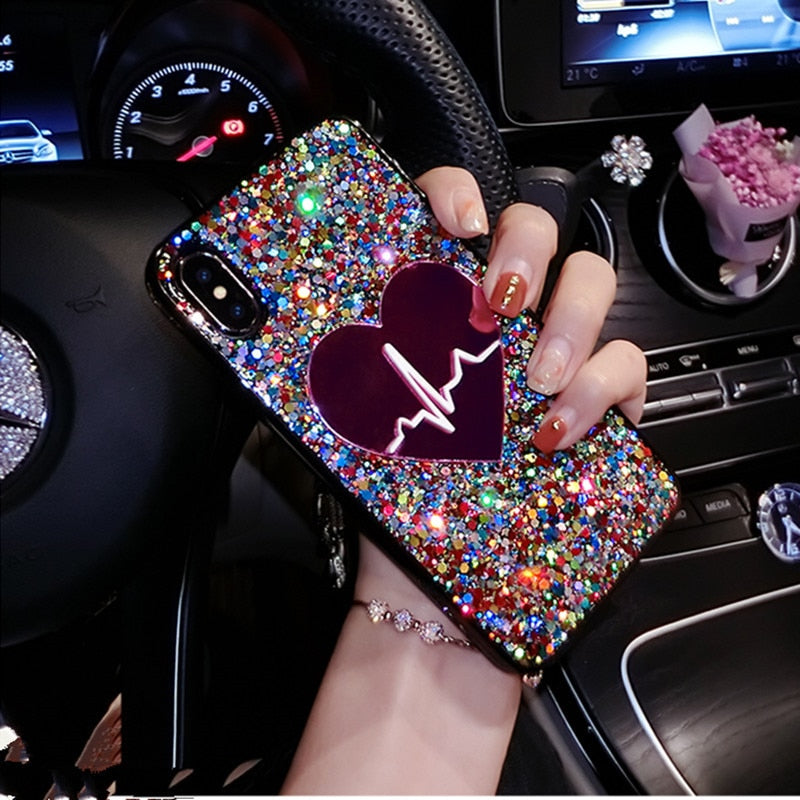 Glitter Sequin Big Heart phone Case For iPhone 11 Pro Max X XS MAX XR 6 7 8 plus 3D Love Soft TPU Cover For Samsung S9 S10 Note9