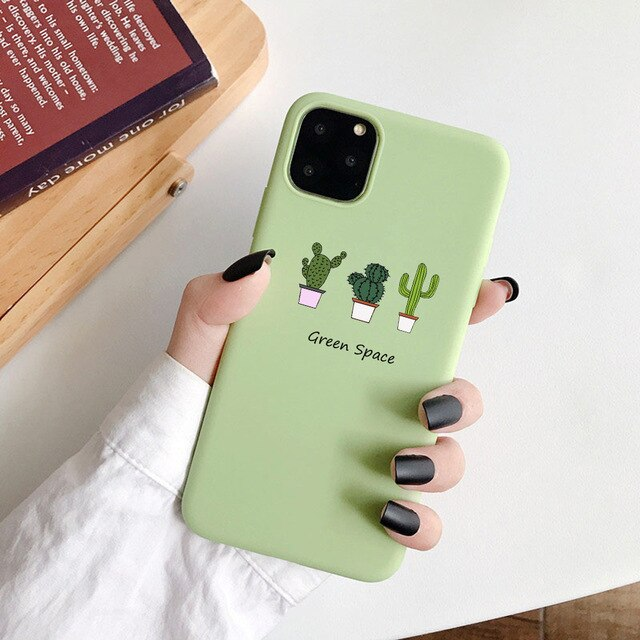 Cartoon Silicone Phone Case for iphone 11 Pro XS Max XR 6s 7 8 plus Soft TPU Funny Avocado watermelon Printed Cover Shell Coqua