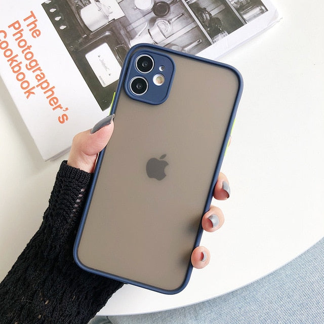 LLTCT Ins Simple Matte Bumper Phone Case For iPhone 11ProMax X XR XS Max 6S 8Plus 7 Shockproof Clear Cover Blurry Transparent