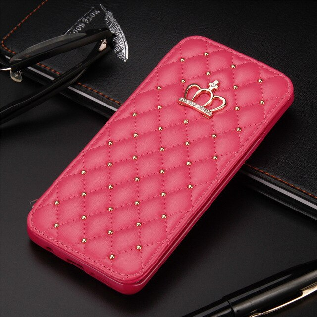Crown Glitter For iPhone 11 X XR XS 11 Pro Max 6 7 8 Plus Case Leather Wallet Queen Cases Flip Cover Mobile Phone Bag