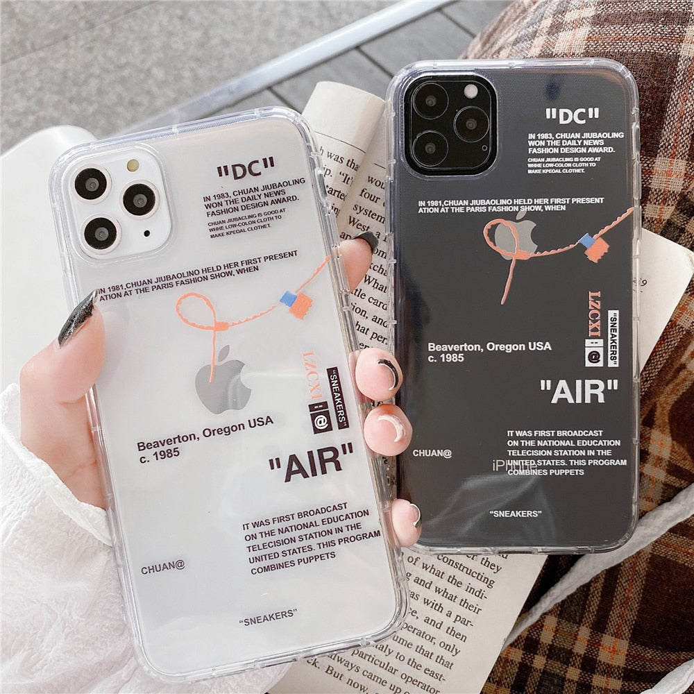 Fashion Tides brand sneakers Phone Case For iPhone 11 Pro X XR XS MAX 7 8 6 Plus Simple label letter Clear Silicone Cover Coque