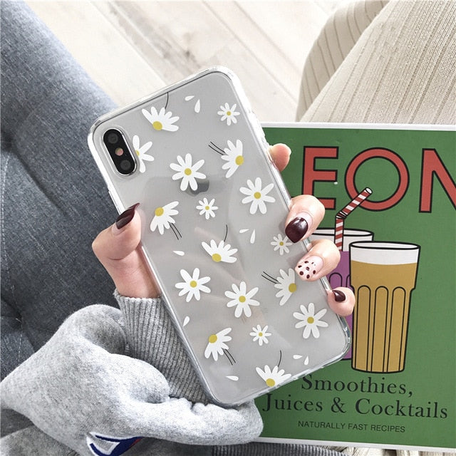 Ottwn Clear Phone Case For iPhone 11 6 6s 7 8 Plus 11 Pro XS Max XR X Love Heart Daisy Flowers Soft Silicone Cover Back Cases