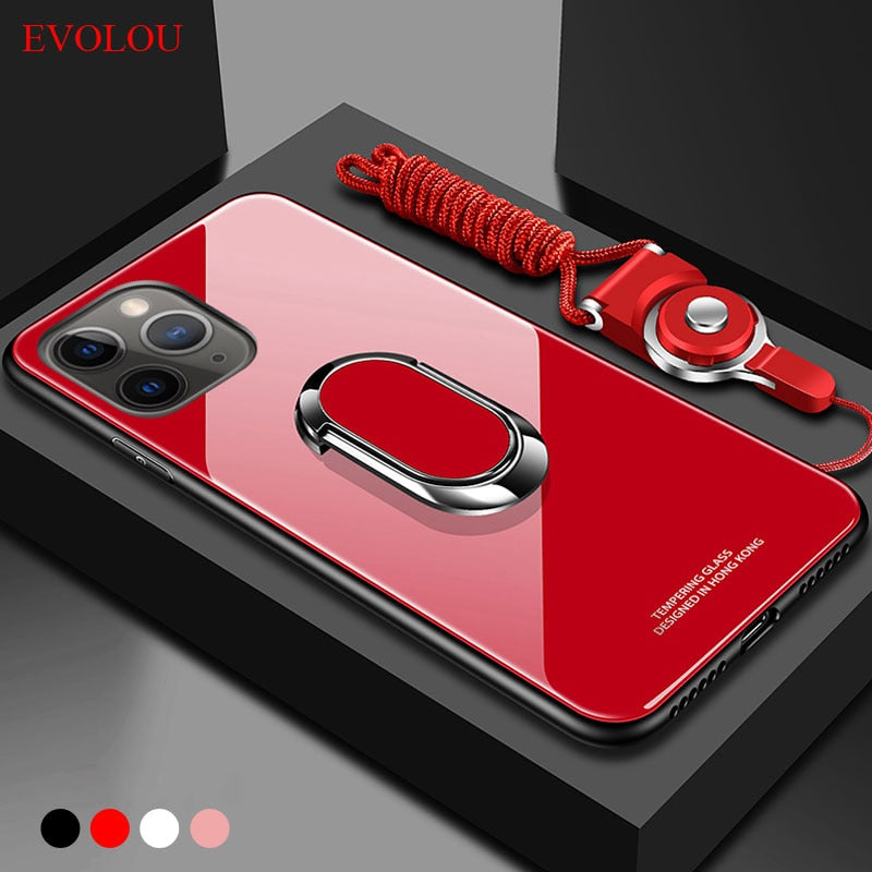 for iphone 11 pro Max Case Magnet Ring Holder Stand Phone Case for iphone SE 2020 XR XS Max 6S 7 8Plus Tempered Glass Back Cover